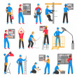 Electric people decorative icons set with electric...