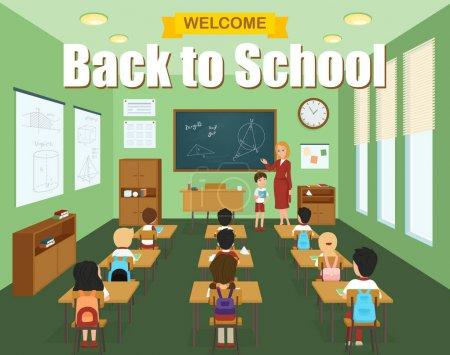 Illustration pour Modèle de classe scolaire avec des enfants aux bureaux et enseignant à l'illustration vectorielle du tableau noir - image libre de droit