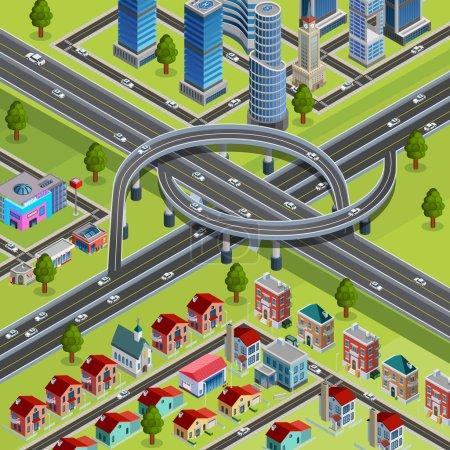 City Roads Junction Interchange Isometric Poster
