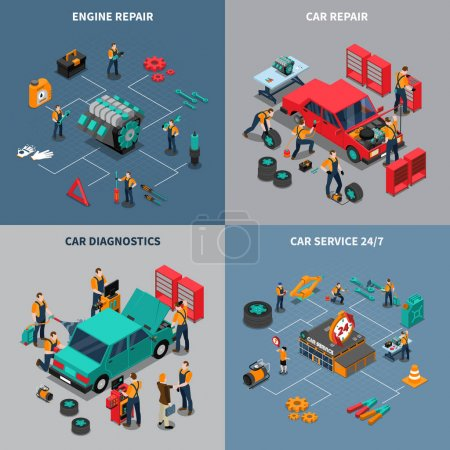 Illustration for Auto service center 4 isometric icons square composition with diagnostic and car maintenance units isolated vector illustration - Royalty Free Image