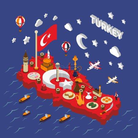 Illustration pour Turc attractions touristiques rouge isométrique carte affiche avec des points de repère cuisine traditionnelle symboles culturels et religieux illustration vectorielle - image libre de droit