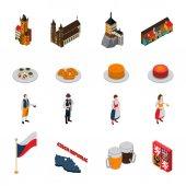 Czech Republic Symbols Isometric Icons Collection