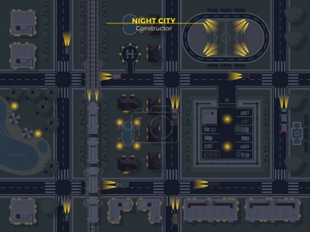 Illustration for Top view poster of night city with usual elements like roads buildings parking and other flat vector illustration - Royalty Free Image
