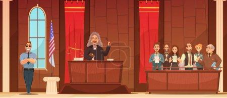 Illustration pour Cour de justice américaine procédures judiciaires au palais de justice avec juge et jury boîte rétro affiche vectorielle illustration - image libre de droit
