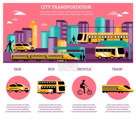 Illustration for City transportation infographics layout with statistic information about different kinds of   transport so as taxi bus train and bicycle flat vector illustration - Royalty Free Image