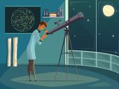 Astronomer With Telescope Retro Cartoon Poster