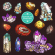 Decorative color icons set of different stones cry...