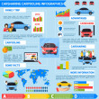 Carsharing carpooling infographics with advantages...