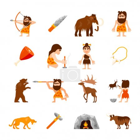 Illustration for Stone age icons set of caveman animals bonfire weapons meat and charm isolated vector illustration - Royalty Free Image