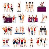 Taneční klub lidí ploché ikony nastavit