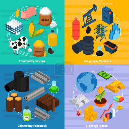 Commodity Concept Icons Set