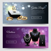 Horizontal jewelry realistic banners with golden rings and elegant necklaces on mannequins and stands isolated vector illustration