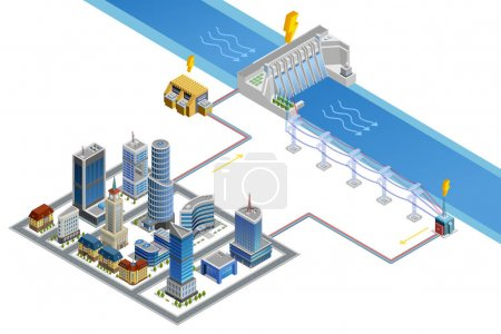 Hydroelectric Station Isometric Poster