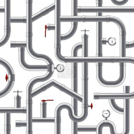 Illustration pour Illustration vectorielle de motif sans couture réaliste de système de tuyau gris en plastique - image libre de droit