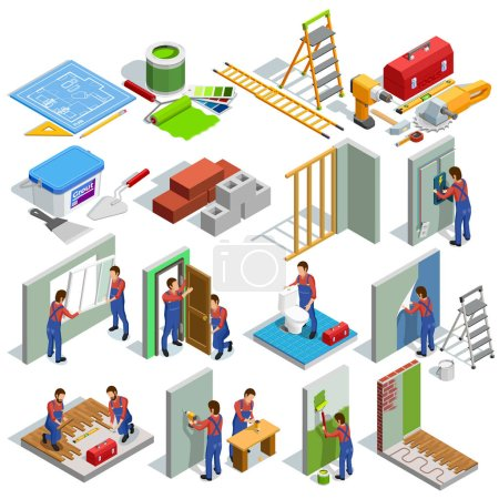 Illustration for Home repair isometric icons set of different renovation procedures workers and tools isolated vector illustration - Royalty Free Image