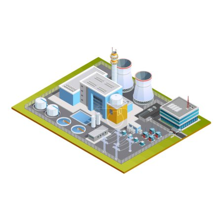 Illustration for Isometric image of one block nuclear station with production centre conversion block  transformers pipes and office vector illustration - Royalty Free Image