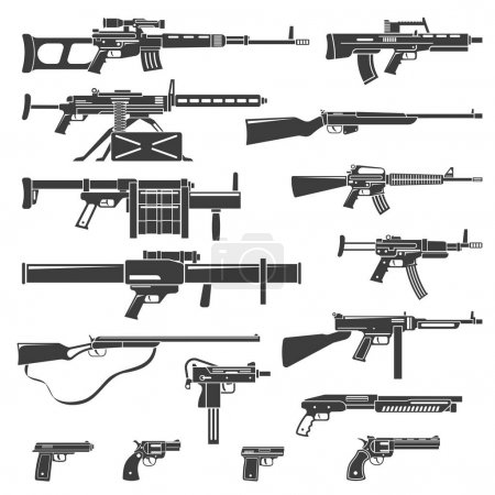Illustration for Flat design weapons guns rifles and pistols monochrome set isolated vector illustration - Royalty Free Image