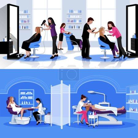 Illustration pour Salon de beauté composition colorée avec coiffure coiffure pédicure cosmétologie en illustration vectorielle de style plat - image libre de droit