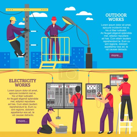 Illustration for Electrical works horizontal banners with people working on power line support and pole flat vector illustration - Royalty Free Image