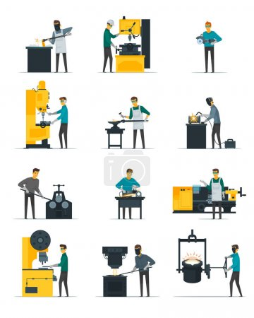Blacksmith Metalworking Process Flat Icons Collection