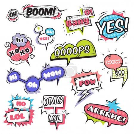Comic speech bubbles set with emotions symbols fla...