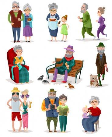 Senioren Cartoon Set