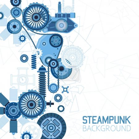 Illustration for Steampunk futuristic background with mechanical engineering industrial parts details and elements vector illustration - Royalty Free Image