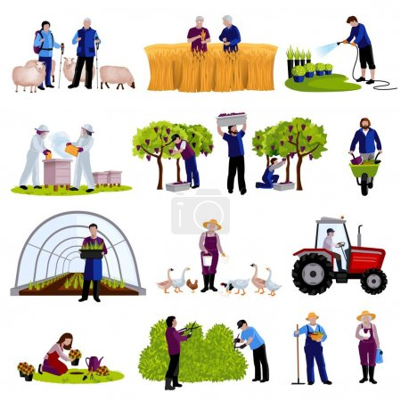 Farmers Gardeners Flat Icons Collection