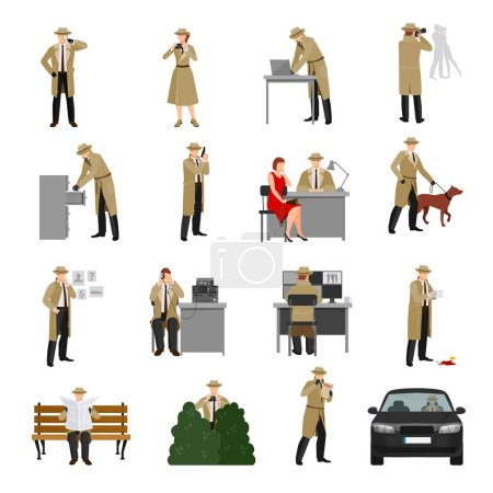 Illustration for Detective characters collection with agent in different poses and situations in flat style isolated vector illustration - Royalty Free Image