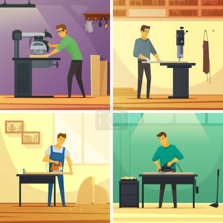 Illustration pour Services de menuiserie 4 icônes plates affiche de composition avec découpage travail de meulage et de polissage illustration vectorielle isolée - image libre de droit
