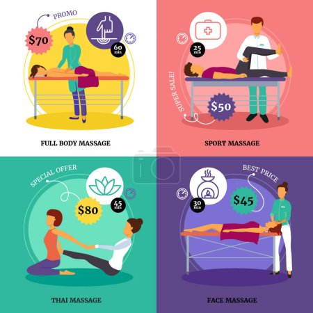 Illustration for Massage and health concept icons set with full body and sport massage symbols flat isolated vector illustration - Royalty Free Image