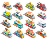 Street Food Trucks Isometric Icons Collection