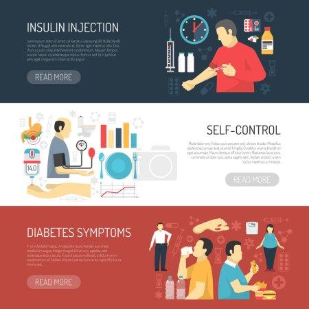 Diabetes Symptoms Horizontal Banners