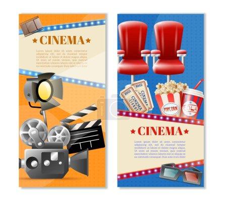 Illustration pour Cinéma 2 bannières verticales rétro avec billets de cinéma sièges pop-corn et la lumière de la caméra illustration vectorielle isolée - image libre de droit