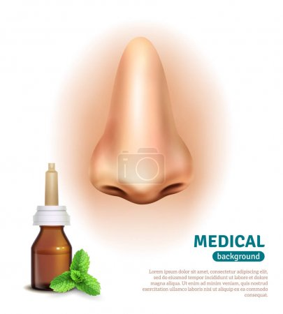 Illustration for Medical advertisement poster with mint nasal spray for cold relief and big nose on background realistic vector illustration - Royalty Free Image
