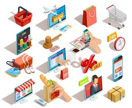 Boutiques e-commerce isométrique Icons Set