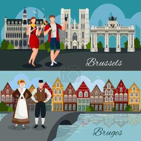 Photo pour Compositions de style plat avec l'architecture des villes belges touristes et résidents en vêtements nationaux illustration vectorielle isolée - image libre de droit