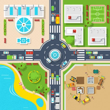 Illustration for Big crossroad divided city on four parts buildings construction and pond top view flat poster vector illustration - Royalty Free Image