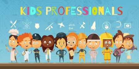 Photo pour Composition de dessin animé plat avec groupe d'enfants vêtus de costumes de professionnels et d'icônes indiquant la profession de recherche illustration vectorielle - image libre de droit