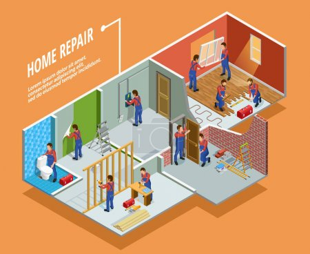 Illustration for Home repair isometric template with painting carpentry  installation of toilet door and window  isolated vector illustration - Royalty Free Image