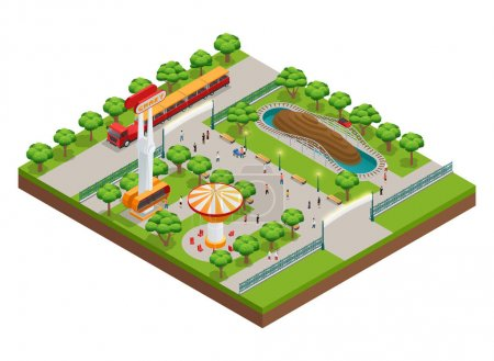 Amusement Park Isometric Concept