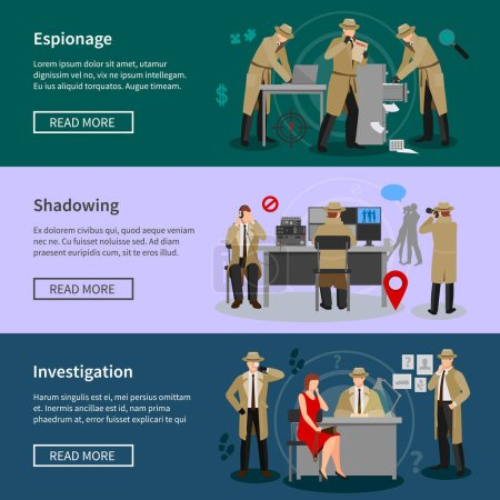 Illustration for Detective spy horizontal banners with agents in various professional situations in flat style vector illustration - Royalty Free Image