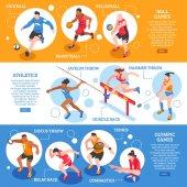 Sportsmen Isometric Horizontal Banners