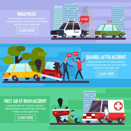 Road Accidents Banners Set