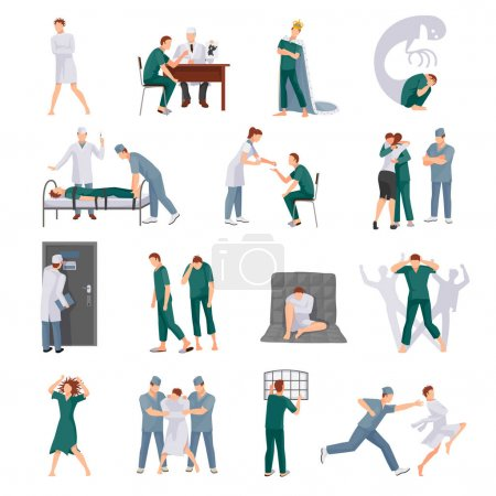Illustration for Mental illnesses icons set with mad people and medical staff in various situations isolated vector illustration - Royalty Free Image