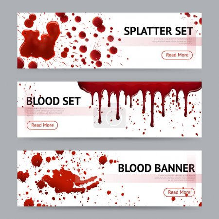 Blood Splatters Horizontal Banners Set
