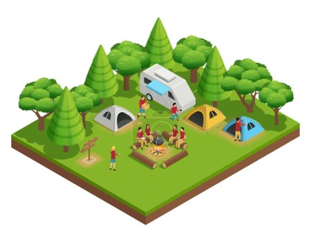 Illustration for Hiking isometric composition with group of people who camped in the woods and sit around the campfire next to tents vector illustration - Royalty Free Image