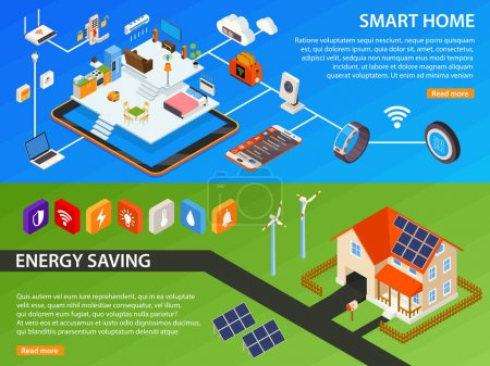 Smart Home 2 Isometric Banners Design