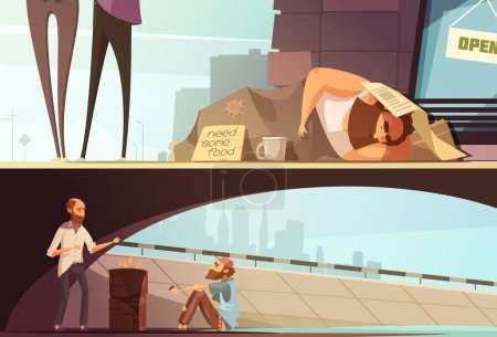 Illustration for Homeless people banners with sleeping person at street and men getting warm under bridge isolated vector illustration - Royalty Free Image
