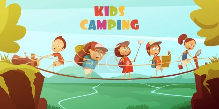 Illustration for Camping kids background with cliffs valley and bridge cartoon vector illustration - Royalty Free Image